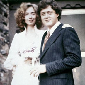 Bill Clinton and Hillary Rodham on front steps on their wedding day, October 11, 1975