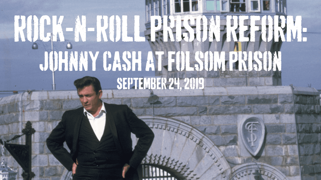 Photo of Johnny Cash outside Folsom Prison in 1968 for Rock-n-Roll Prison Reform: Johnny Cash at Folsom Prison speaker event on September 24, 2019 in Fayetteville, Arkansas
