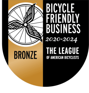 Bicycle Friendly Business Bronze Award - pennant with bicycle wheel and logo of The League of American Bicyclists