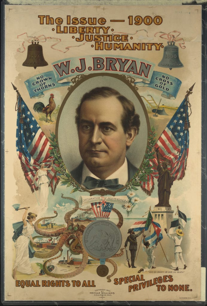 Image of presidential candidate William Jennings Bryan surrounded by flags and other patriotic symbols. Unidentified artist, Democratic Party candidate William Jennings Bryan, 1900; lithograph on paper, 28 1/2 x 18 1/2 inches; Courtesy of Library of Congress.